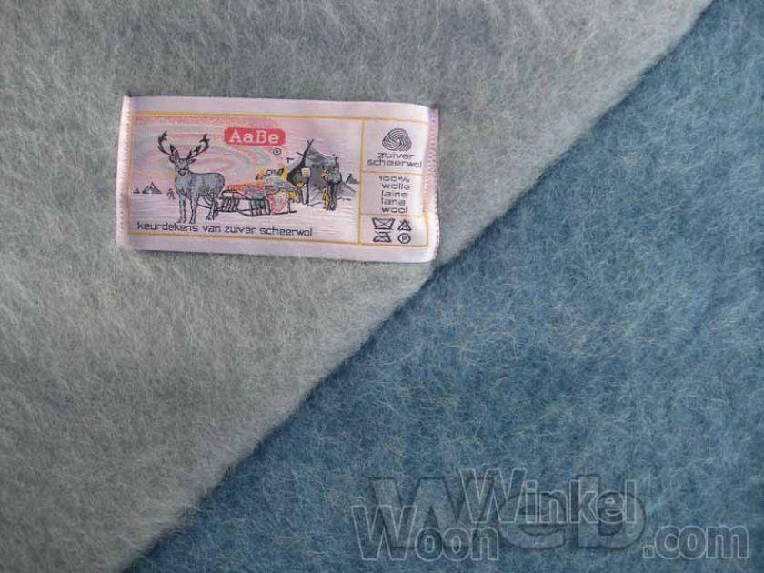 AaBe Promesse blauw - zuiver scheerwollen deken - 600gr/m2